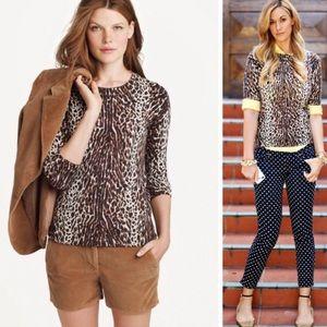 J. Crew Animal Print 100% Merino Wool Sweater M